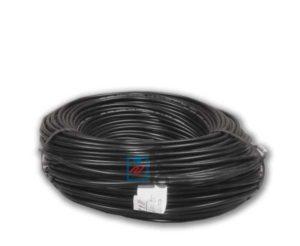 Тонкий нагревательный кабель Hemstedt DR-12. Черный кабель в бухте.