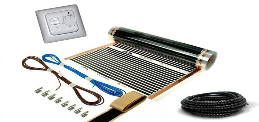 Комплект для монтажа инфракрасной пленки: Пленка, терморегулятор, провод, клеммы, битумный изолятор, гофротрубка.