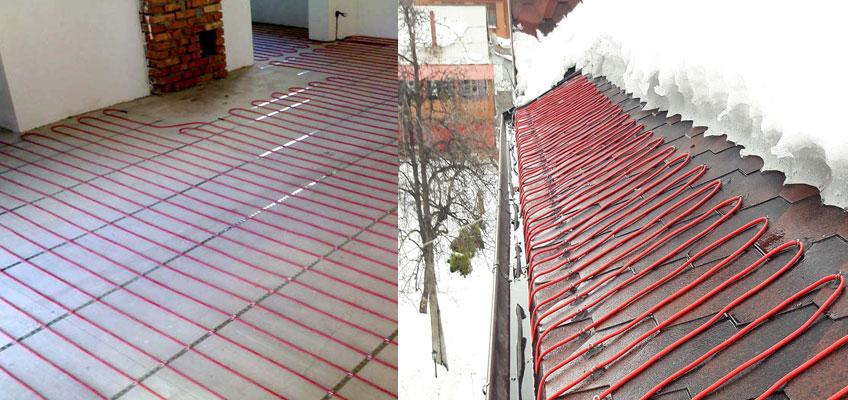 Монтаж нагревательного кабеля. Теплый пол, система антиобледенения. Монтаж кабеля под стяжку и на крышу.