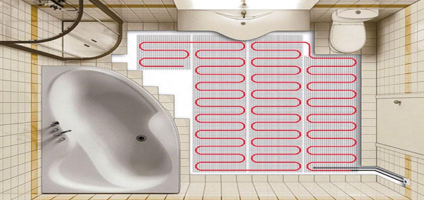 Теплый пол под плитку. Установка нагревательного мата в ванной.