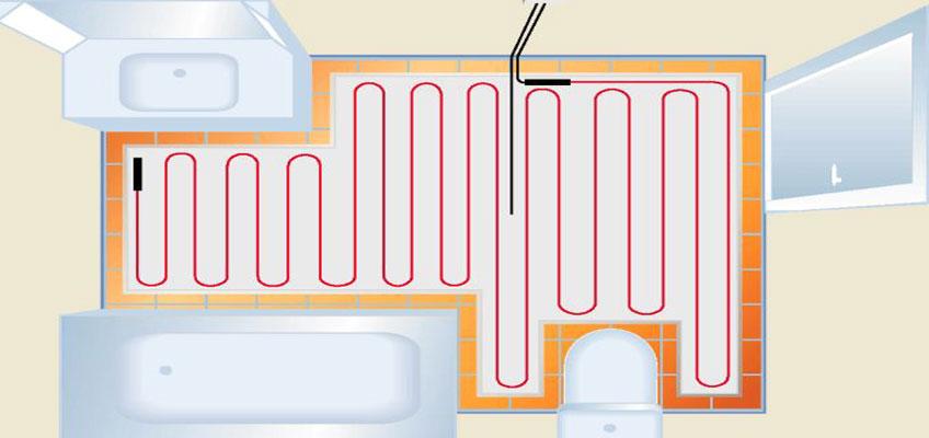 Тонкий кабель под плитку - раскладка в ванной.