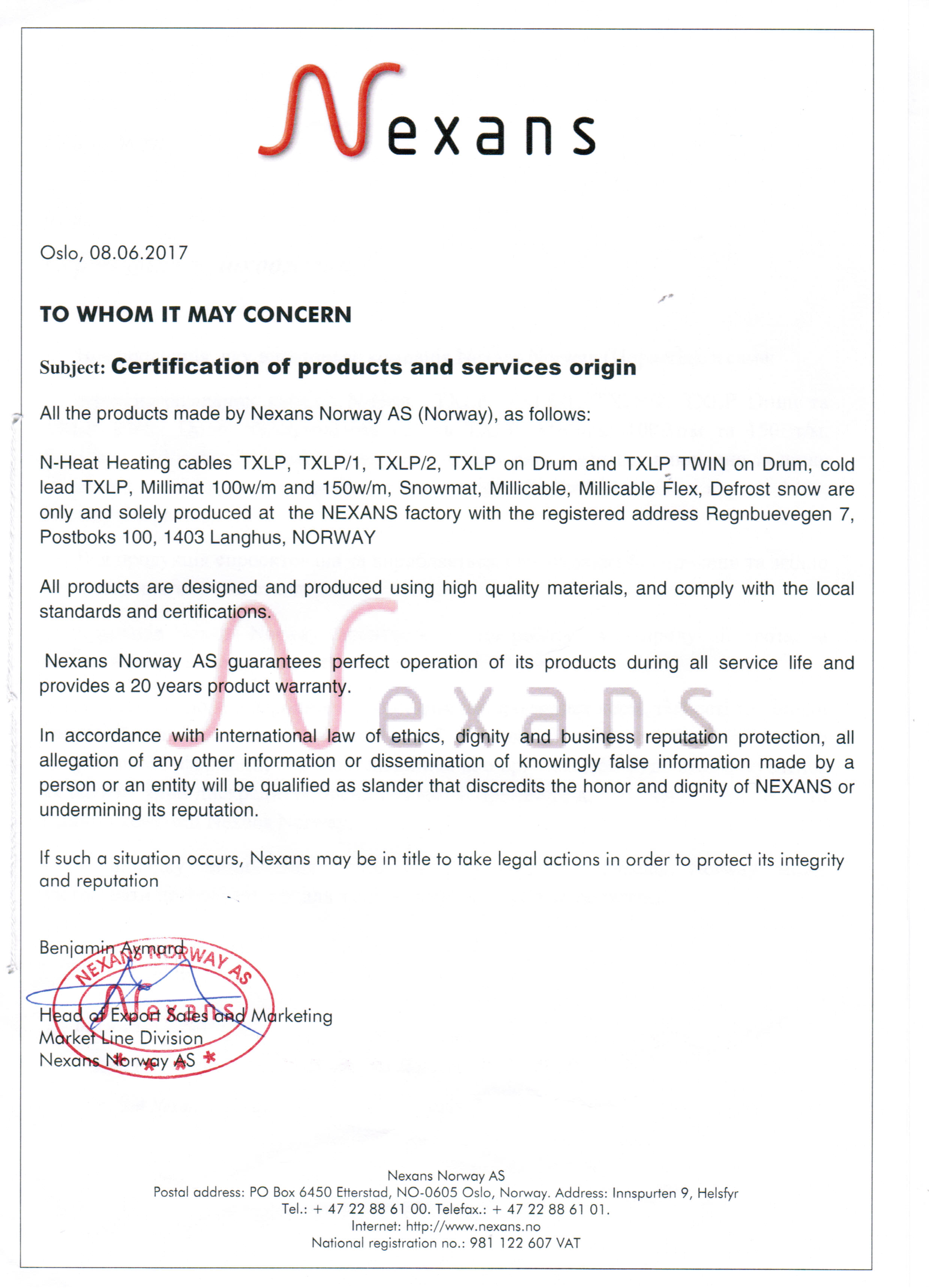 Сертификат Nexans, подтверждающий производство продукции в Норвегии.