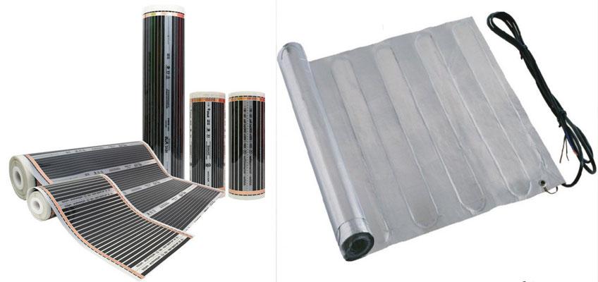 Слева - инфракрасная пленка, справа - алюминиевый мат. Теплый пол под ламинат.