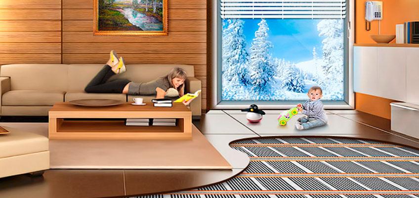 Инфракрасный теплый пол под ламинат. Теплый пол в квартире. Ребенок на полу с подогревом.