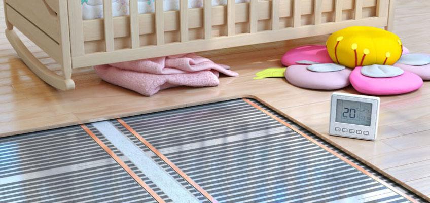 Инфракрасный теплый пол под ламинат в детской комнате.