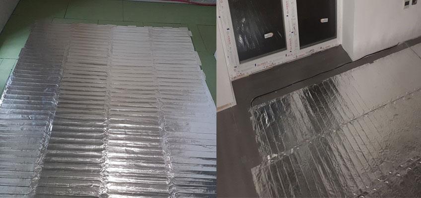 Алюминиевый мат под ламинат. Два помещения в которых разложен алюминиевый мат.