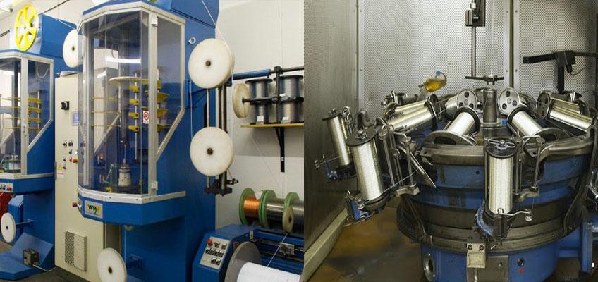 Изображено две производственные линии на которых изготавливается резистивный кабель Arnold Rak