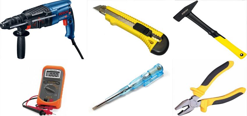 Инструменты, которые понадобятся при монтаже теплого пола. Перфоратор, канцелярский нож, молоток, мультиметр, индикаторная отвертка, плоскогубцы.