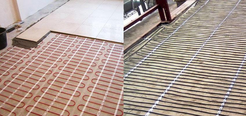 Монтаж электрического теплого пола. Слева - нагревательный мат под плитку. Справа - нагревательный кабель в стяжку.