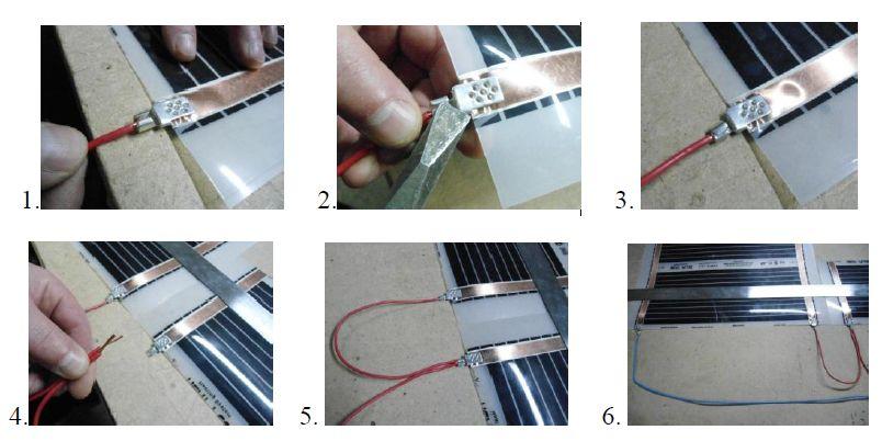 Шесть маленьких изображений с нумерацией. Пошаговая инструкция подключения клемм к инфракрасной пленке.