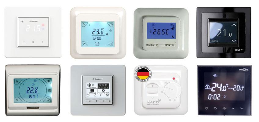 Популярные модели терморегуляторов для электрического теплого пола. На изображении 8 терморегуляторов.