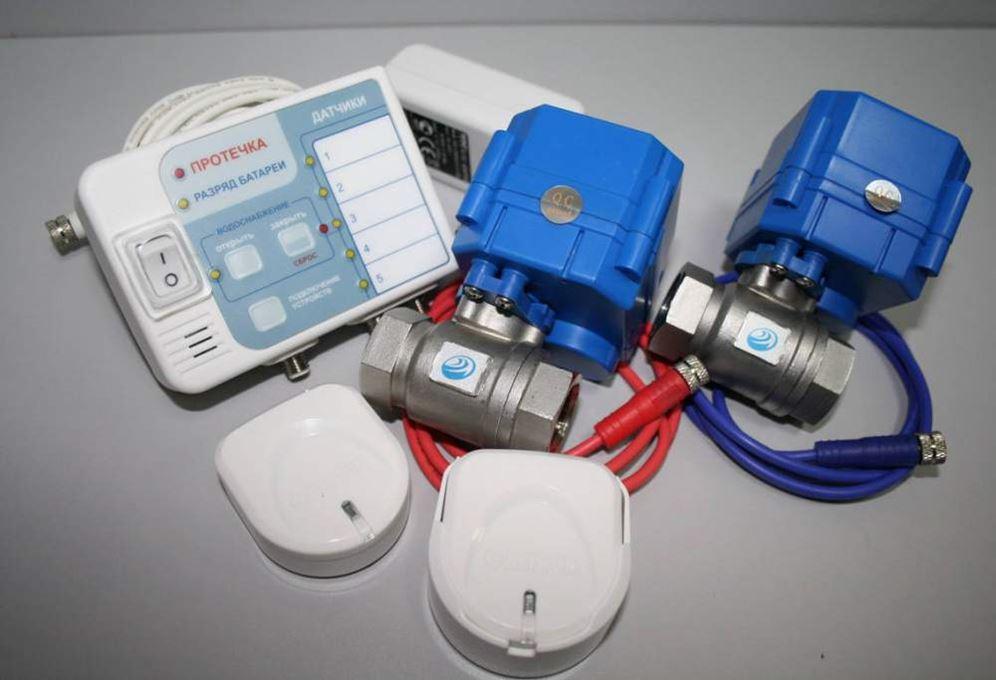 Комплект Нептун: Контроллер, два крана с сервоприводом, два проводных датчика протечки.