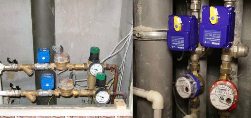 Установлена защита от потопа Нептун. Шаровые краны, фильтр грубой очистки, краны с электроприводами Нептун, счетчики воды, редуктора давления.