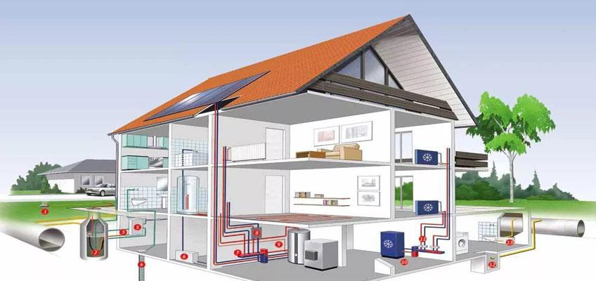 Двухэтажный дом в разрезе с схематическим изображением систем отопления и солнечными панелями