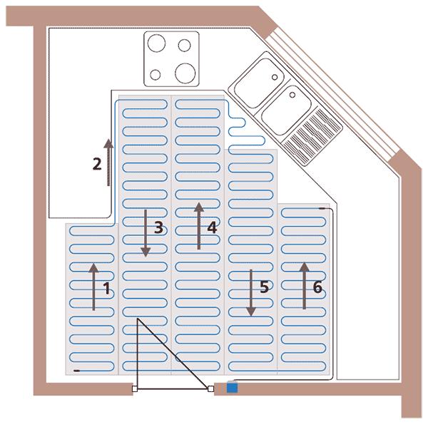 Схематическое изображение кухни и раскладки нагревательного мата для электрического теплого пола.