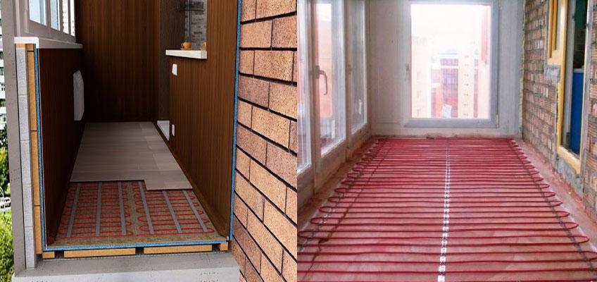 Слева на изображении схематически изображен разрез балкона с электрическим теплым полом. Справа показано как уложить кабель теплого пола на балконе.