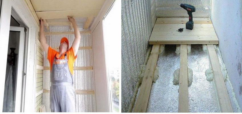 Утепление балкона изнутри. Слева мастер крепит гипсокартон к потолку. Слева показан монтаж напольного покрытия.