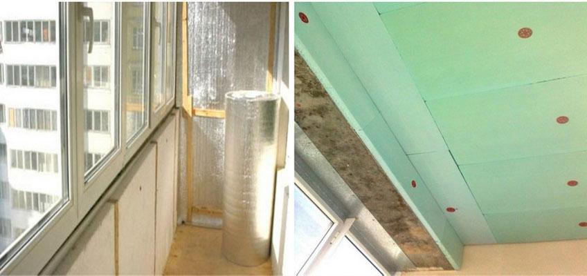 Утепление балкона изнутри. Слева - утепление стен, права - утепление потолка.