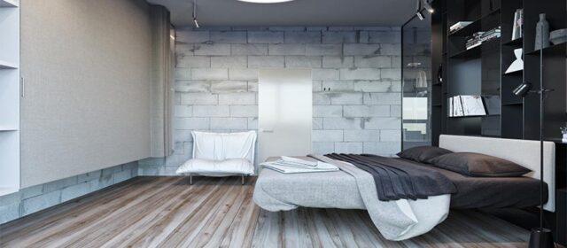 уютная спальная комната в стиле лофт